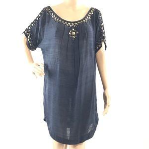JOIE Boho Oversized 100% Silk Sheer Shift Dress